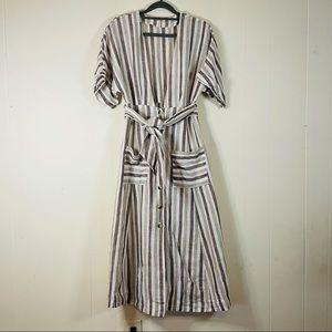 Free People Monday Striped Linen Midi Dress